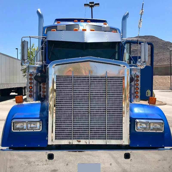 """Kenworth 15"""" Stainless W900 T800 Flat Glass Drop Visor On Truck"""