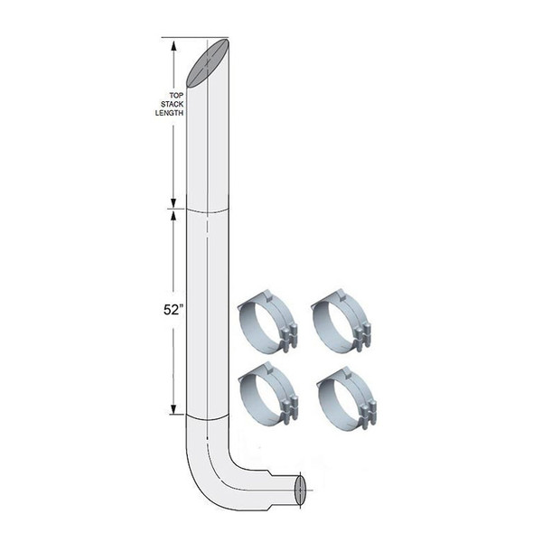 """Freightliner Classic FLD 6"""" Lincoln Exhaust Stack Kit"""