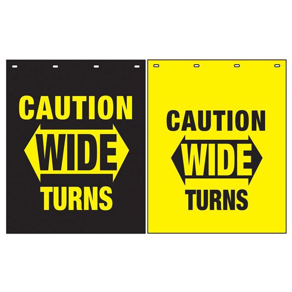 "Polyguard Caution ""Wide Turns"" 24"" x 30"" Mud Flap Black Yellow"