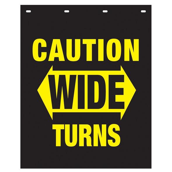 "Polyguard Caution ""Wide Turns"" 24"" x 30"" Mud Flap Black"