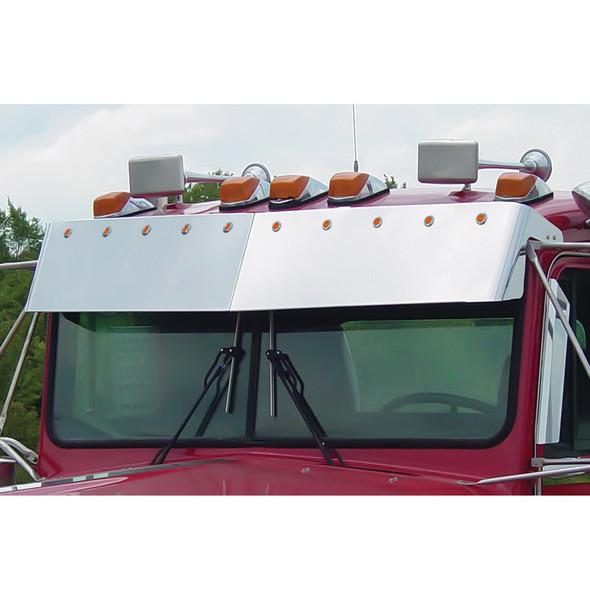 "Kenworth Blind Mount 12"" With LED's Drop Visor For Flat Windshields - 1985-1998 Bullseye LEDs"