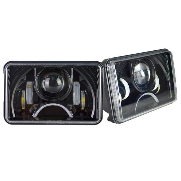 Black 6x4 LED Projection Headlights W/ Half Moon Daytime Running Light Angle View