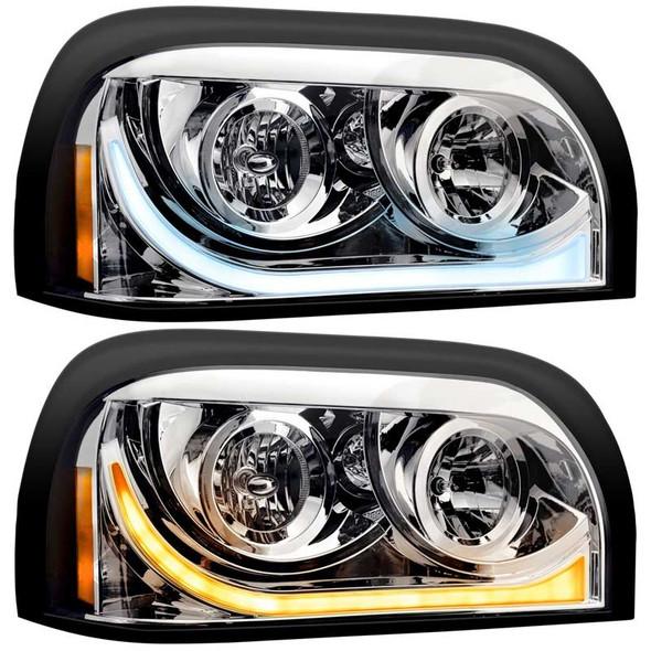 Freightliner Century Headlight Assembly W/ LED White Running / Amber Signal Light Driver & Passenger Side