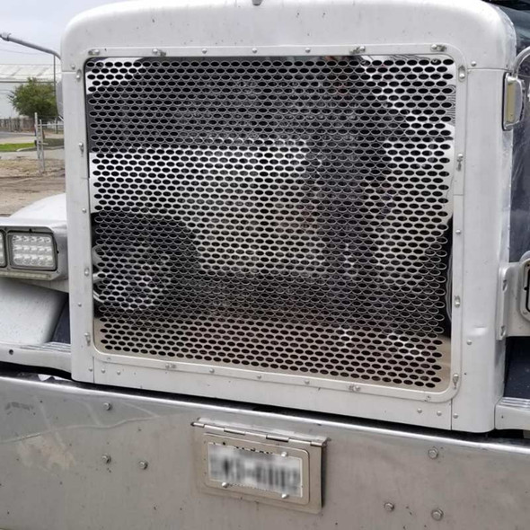 Peterbilt 379 Short Hood 430 Stainless Steel Grill With Alternating Oval Cut Outs on Truck