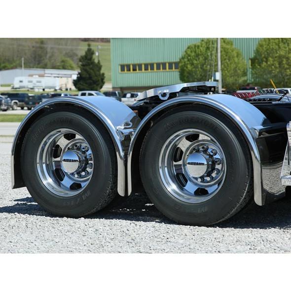 "Hogebuilt 100"" Stainless Steel Single Axle Ultimate Lowrider Fenders On Truck Close Up Passenger Side View"
