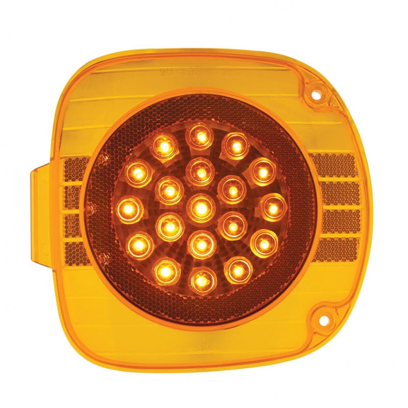 Freightliner Turn Signal Light 22 LED With Chrome Reflector Amber Lens