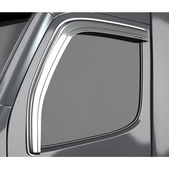 International 5000 Series 9400 9900 Chrome Ventvisor Rain Guard Front 3QTR View