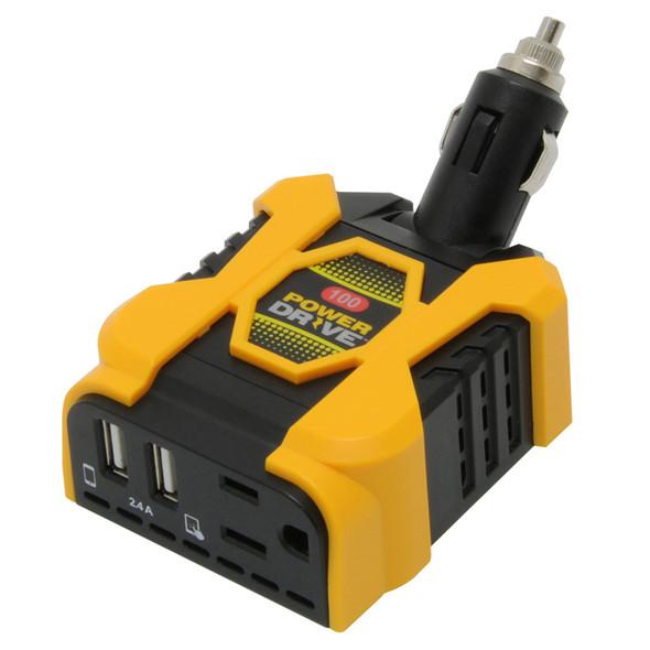 PowerDrive 100 Watt Direct Plug Inverter With 1 AC And 2 USB Ports