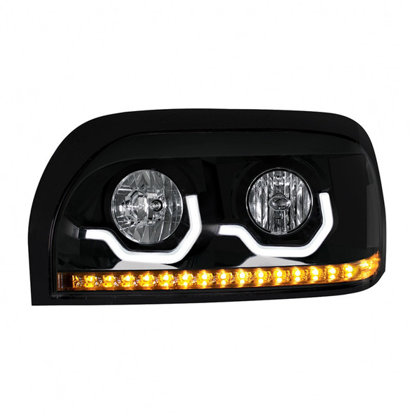 Freightliner Century Blackout Projection Headlight With LED Light Bar And Turn Signal  - Driver Side