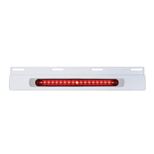 """Top Mud Flap Plate With 17"""" LED Light Bar - Stainless Steel - With Chrome Bezel"""