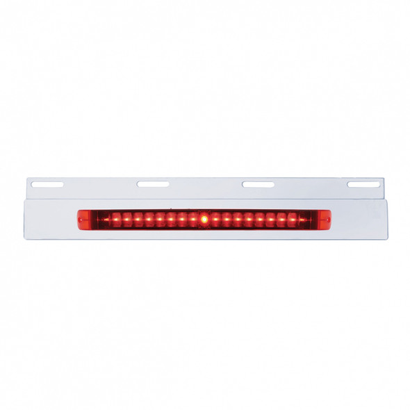 """Top Mud Flap Plate With 17"""" LED Light Bar - Stainless Steel - No Chrome Bezel"""