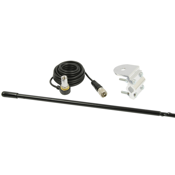 RoadPro 4' Platinum Series Black Single Mirror Mount CB Antenna Kit
