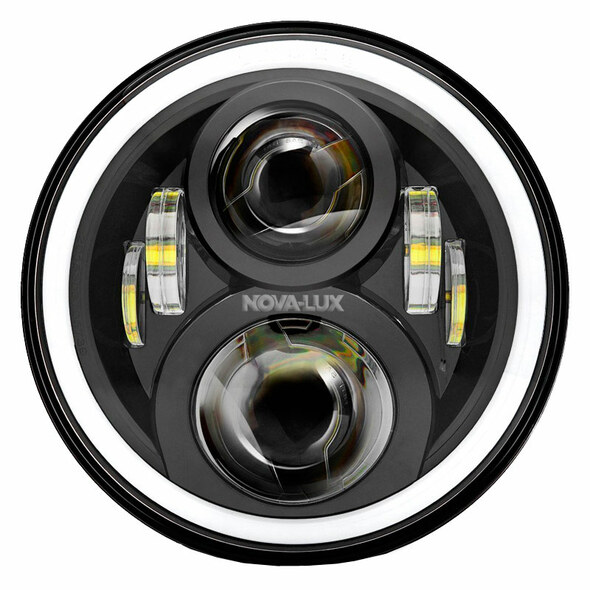 """7"""" Round Projection LED Color Shift Angel EyeHeadlights White Rim"""