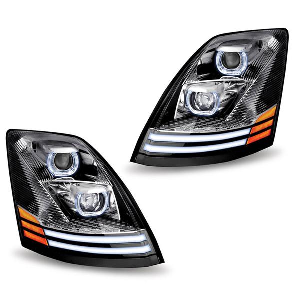 Volvo VNL Chrome Projector LED Headlight - Set