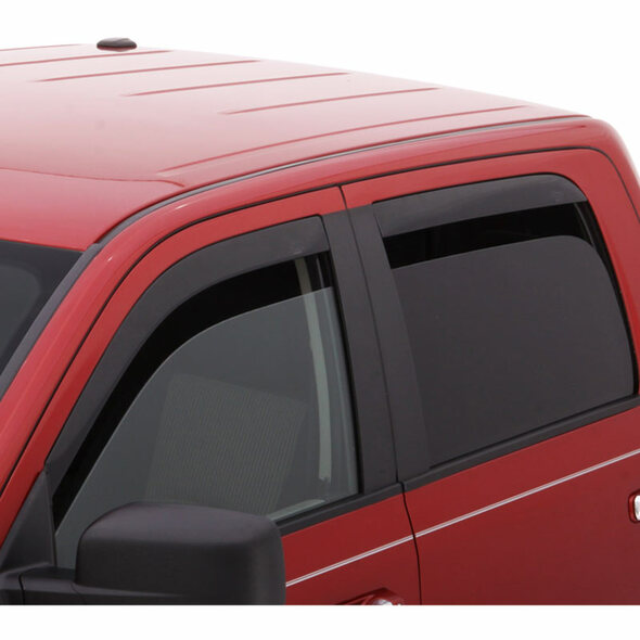 Ford F-150 Supercrew AVS Smoke Low-Profile Ventvisor 4 Piece On Truck Side View