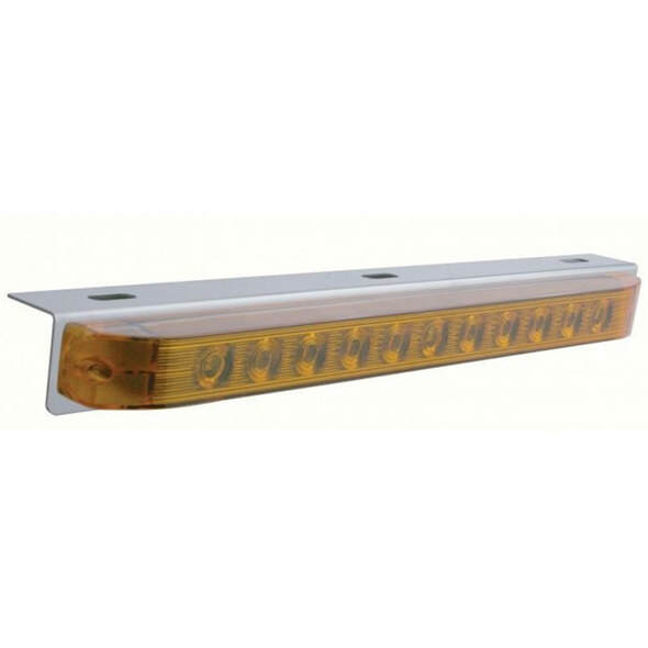 Stainless Steel Light Bracket With 11 Amber LED STT & PTC Light Bar Without Chrome Bezel