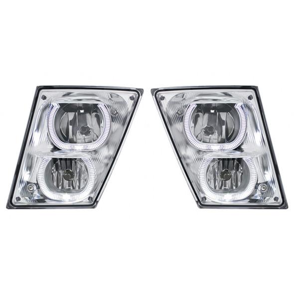 Volvo VNL 2003+ Fog Light With White LED Light Bar - Set