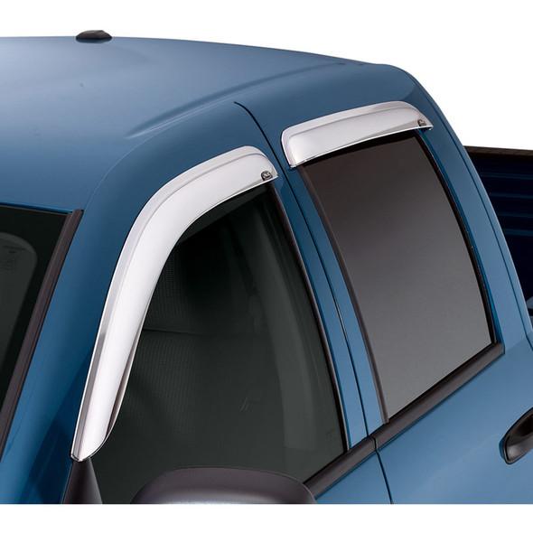 Dodge Ram 1500 2500 3500 Quad Cab AVS Chrome Ventvisor 4 Piece On Truck Angle View