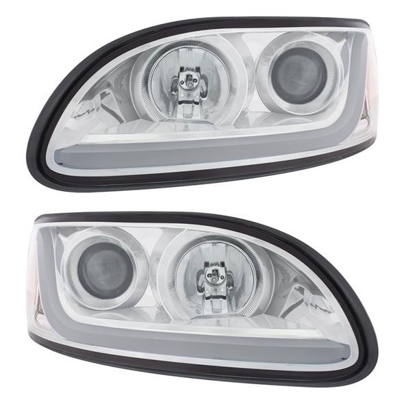 Peterbilt 386/387 Projector Headlight With LED Dual Function Light Bar Light Off