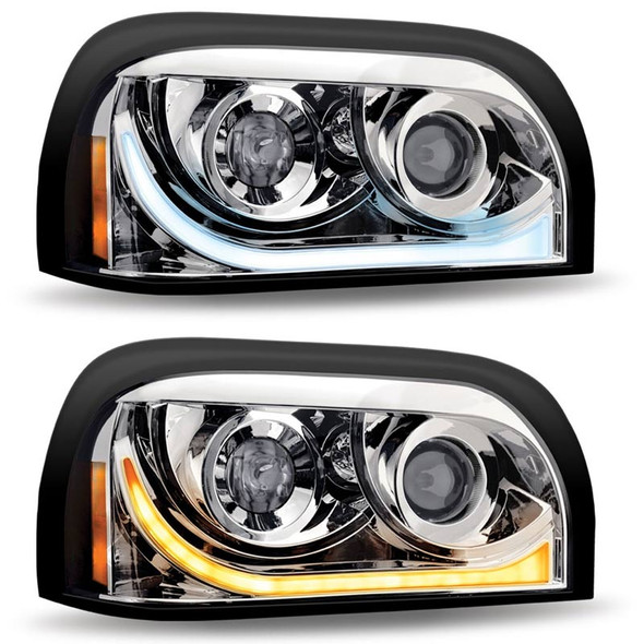 Freightliner Century Projector Headlight With LED Dual Function Light Bar  - Passenger Side