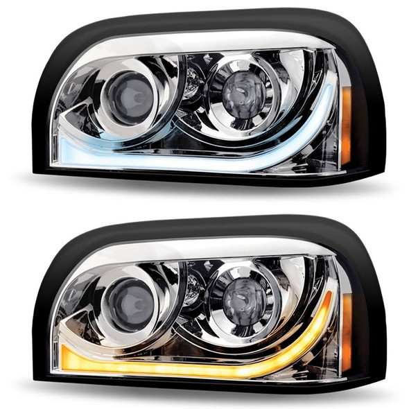 Freightliner Century Projector Headlight With LED Dual Function Light Bar  - Driver Side