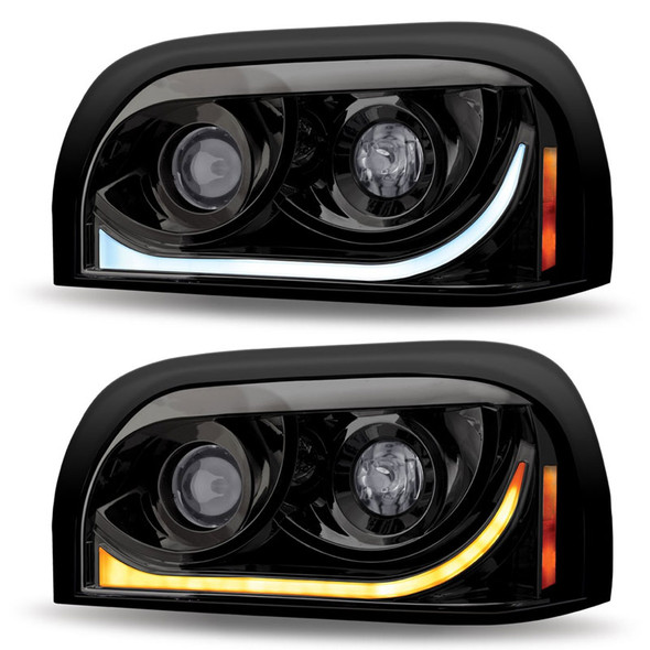 Freightliner Century Blackout Projector Headlight With LED Dual Function Light Bar - Driver Side
