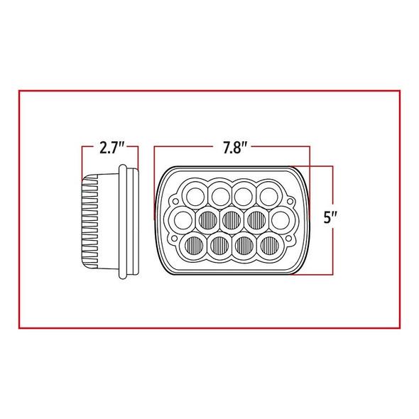 Standard LED Projector Headlight - Measurements