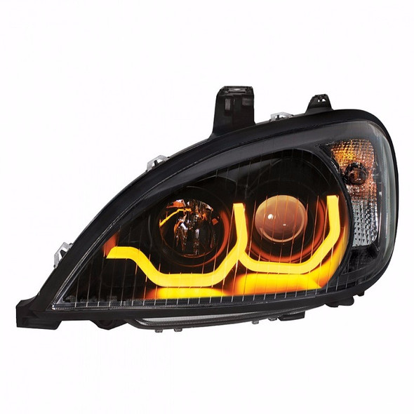 Freightliner Columbia Blackout Projection Headlight w/ Dual Function LED Bar - Driver Side Front View