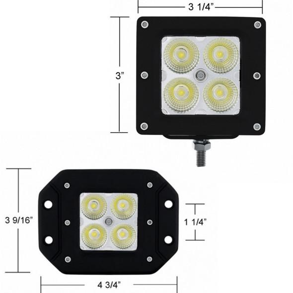 High Power 4 LED Square Flood Light X2 - Bracket and Flush Mount Measurements Shown