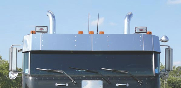 Peterbilt 362 Cabover Drop Visor With Driver Spotlight Cutouts By RoadWorks