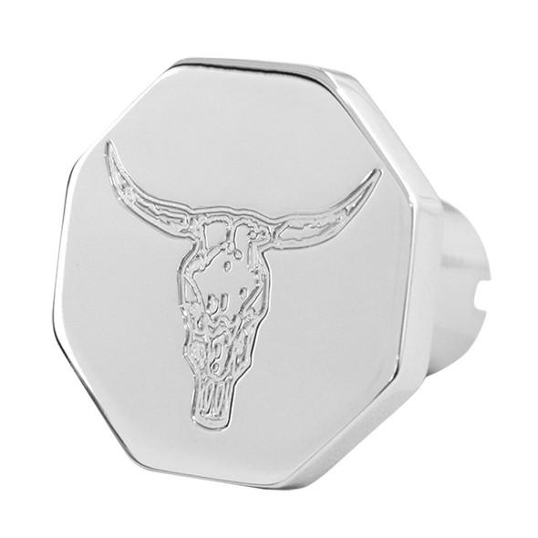 Engraved Bull Skull Tractor Trailer Air Brake Knob Octagonal