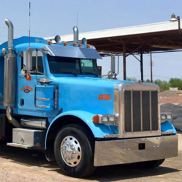 "14"" Peterbilt 379 389 Ultra Cab Drop Visor On Blue Truck"