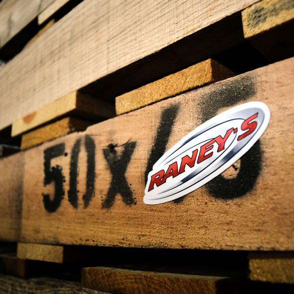 """Raneys Logo 4"""" Vinyl Sticker On Pallet"""