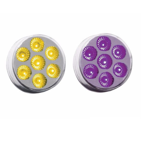 "2"" Round Dual Revolution Amber & Purple LED Marker Light"