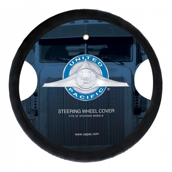 """Universal 18"""" Black Leather Steering Wheel Cover Perforated"""