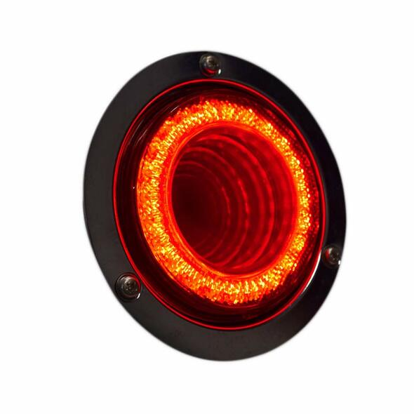 """4"""" Round STT & PTC Mirage Double Vision Red LED Light With Red Lens Side View"""