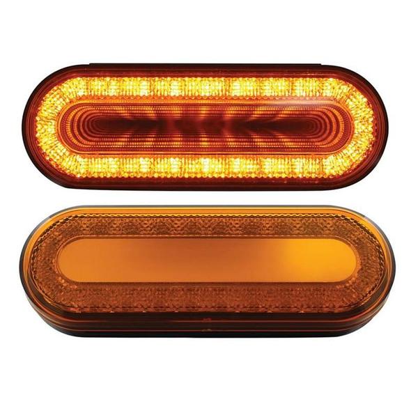 """6"""" Oval STT & PTC Mirage Double Vision LED Light  Amber Lens Amber LED"""