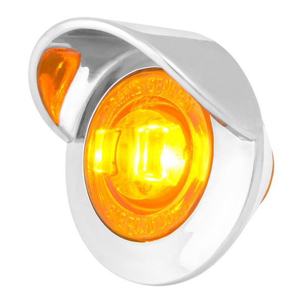 """1"""" Mini Wide Angle Clearance Marker LED Light With Visor - Amber/Amber"""