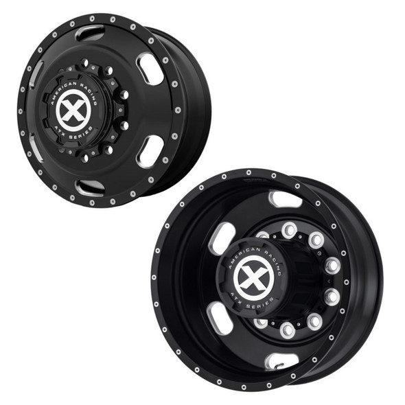 """22.5"""" x 8.25"""" Satin Black Indy Style Wheels Front And Rear"""