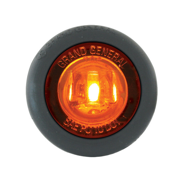 """1"""" Mini Wide Angle Clearance Marker & Turn LED Light With Grommet  - Amber/Amber"""