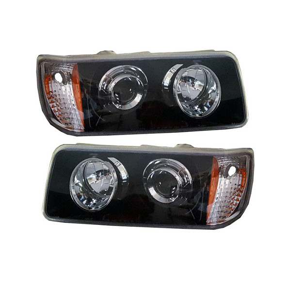 Freightliner FLD 112 120 Black And Chrome Headlights Both Sides