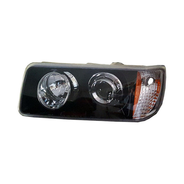 Freightliner FLD 112 120 Black And Chrome Headlights Driver Side