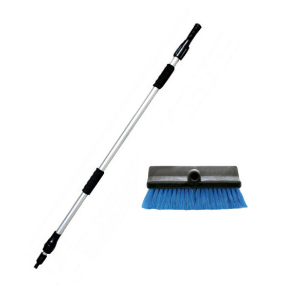 """Aluminum Extendable Wash Pole With 10"""" Scrub Brush"""
