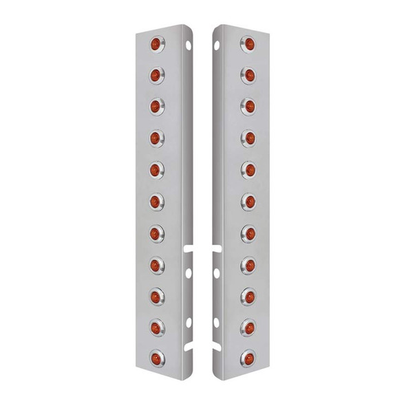 Stainless Steel Peterbilt Front Air Cleaner Bracket With Amber LED Lights with Amber Lens