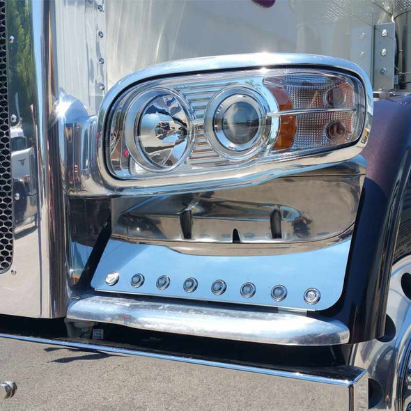 Peterbilt 388 389 Stainless Steel Fender Guards With Lights