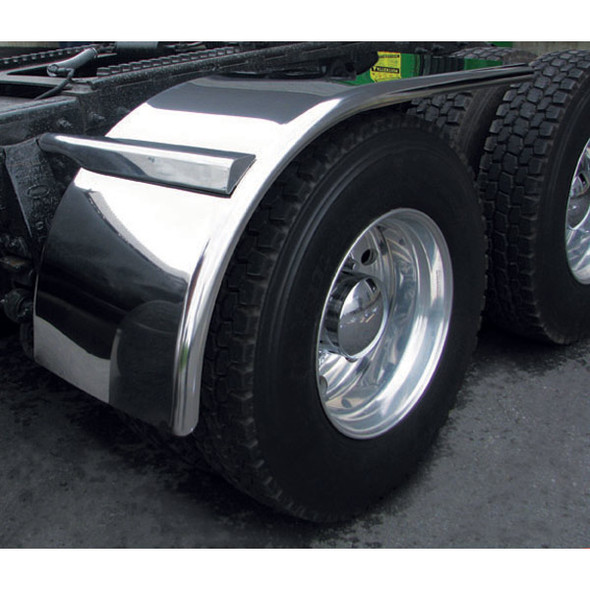 """66"""" Semi Truck Half Fenders 14 Ga. Stainless Steel With Rolled Edge On Truck"""