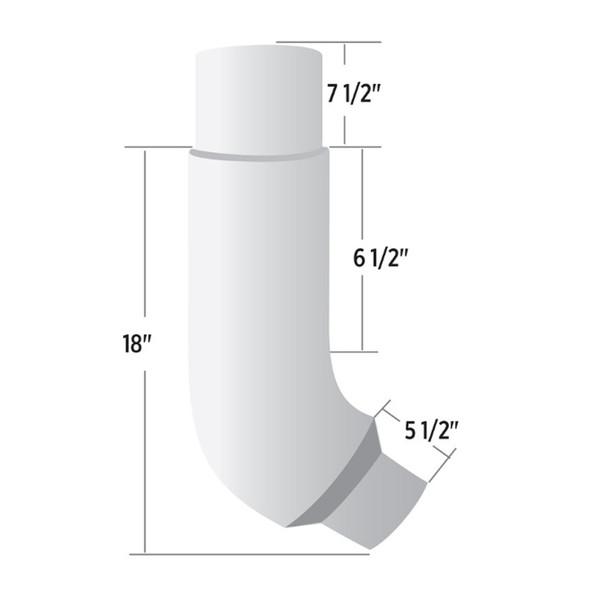 "Peterbilt 379 7"" - 5"" Reduced O.D. 55 Degree Chrome Elbow - Dimensions"