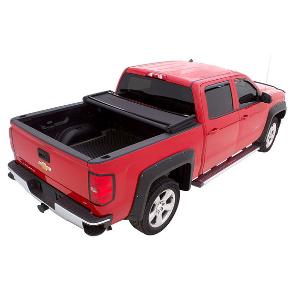 Nissan Titan And Titan XD Premium Genesis Elite Tri-Fold Tonneau Cover Open