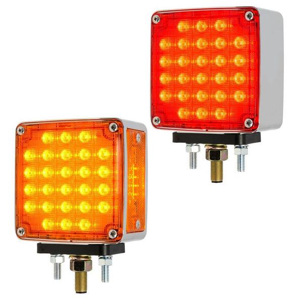 Smart Dynamic Square Double Face LED Pedestal Light Amber Lens Red Lens