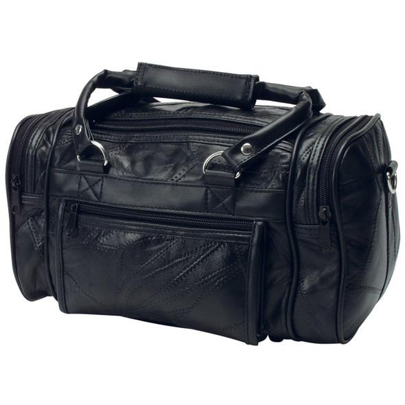 """12"""" Patchwork Black Leather Shave Kit Bag"""
